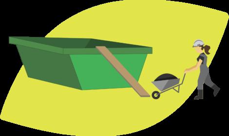 Los volquetes deben ser cargados con ayuda de equipamiento que permita subir el contenido hasta la parte superior del mismo.