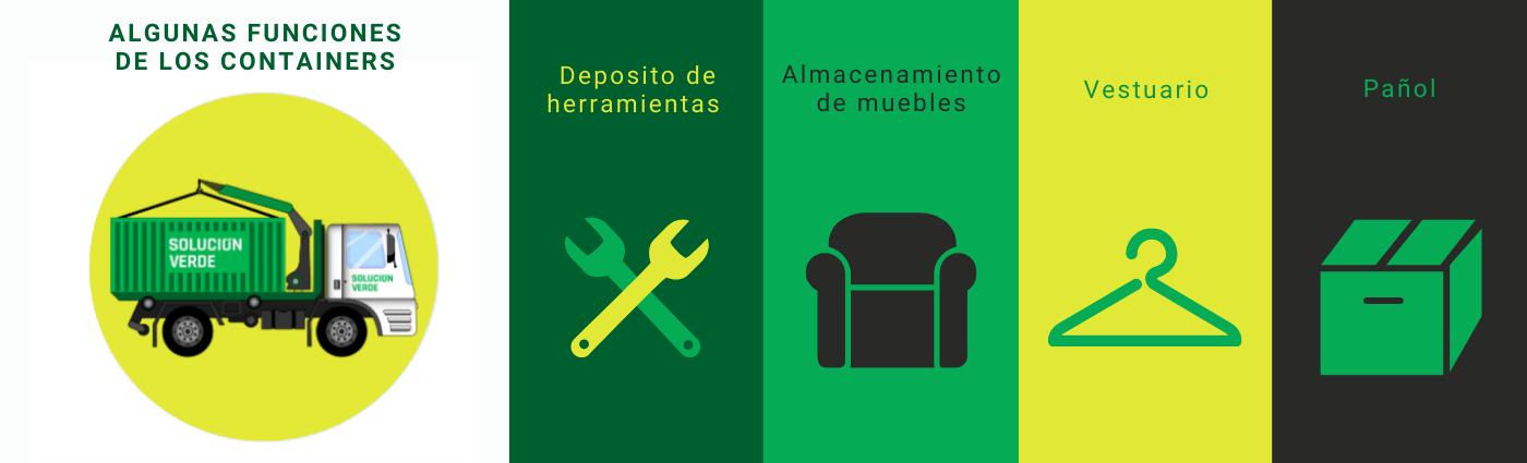 Los contenedores pueden ser utilizados para cubrir muchas funciones distintas. Entre ellas, almacenar herramientas, mobiliario, vestuario, o utilizarse como pañol..