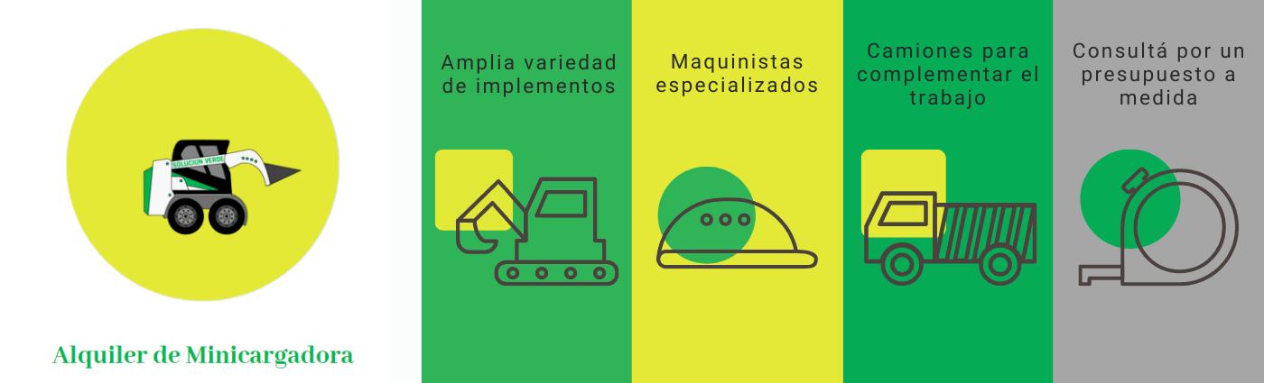Nuestro servicio de alquiler de minicargadoras ofrece las siguientes ventajas: Amplia variedad de implementos que permiten cumplir distintas funciones. Contamos con maquinistas especializados y con mucha experiencia. Tenemos camiones propios, para complementar el trabajo. Podés consultar por un presupuesto a medida.