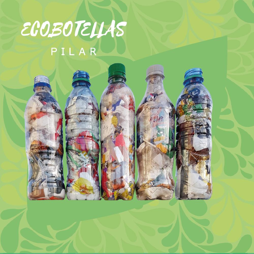 Logo de Ecobotellas pilar y foto de cinco ecobotellas