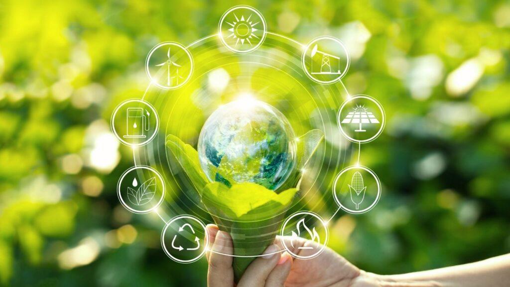 Foto con un diagrama de las ventajas de la economía circular