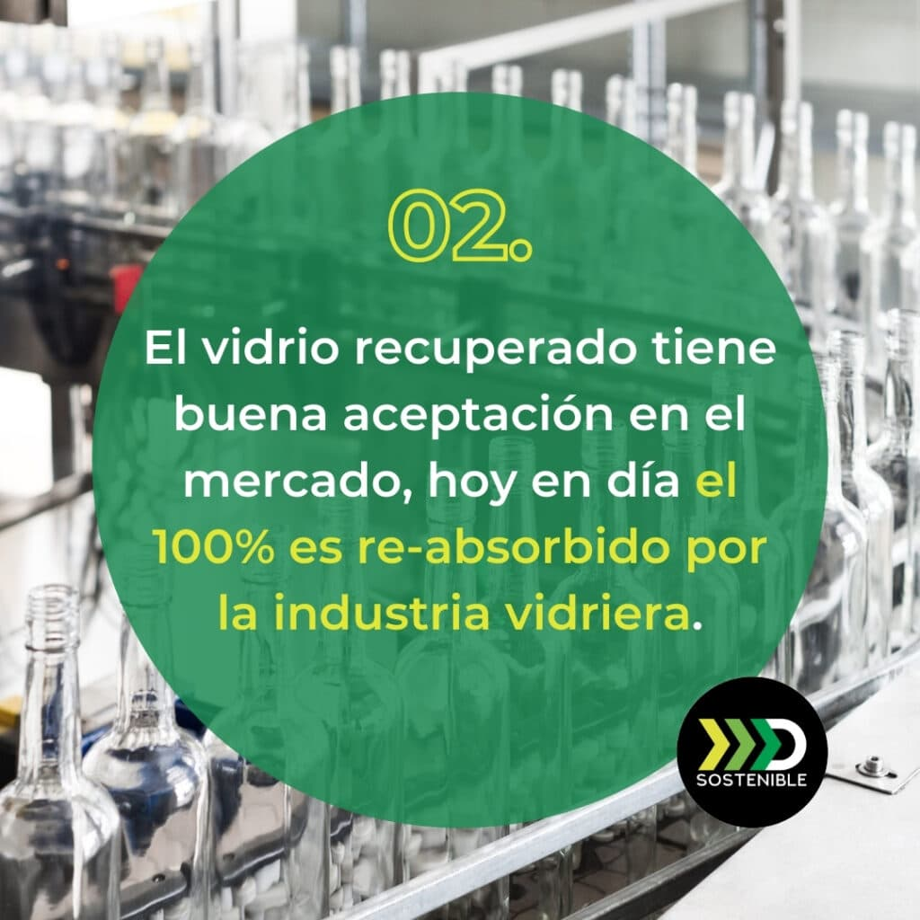 El vidrio reciclado es aprovechado por la industria vidriera
