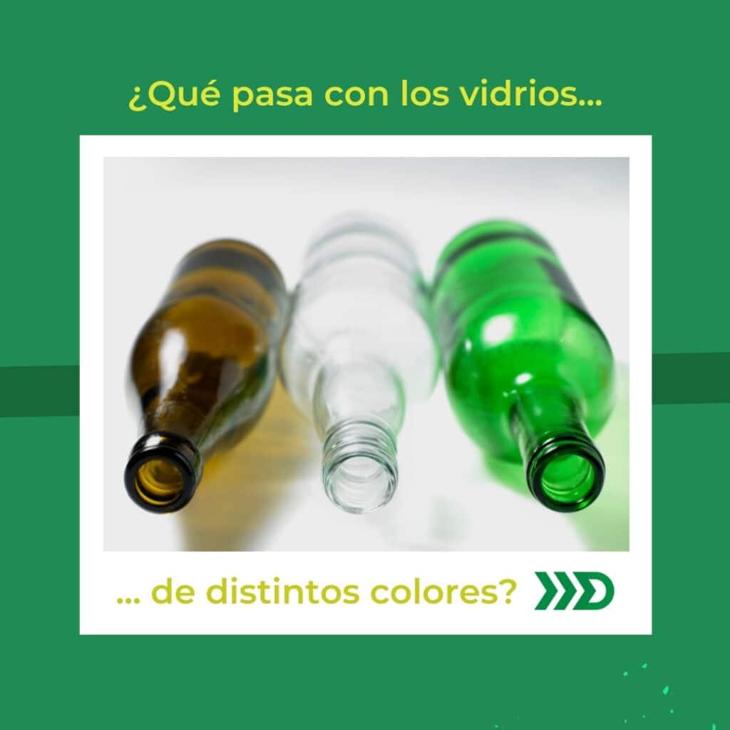 Reciclaje de vidrios de distintos colores